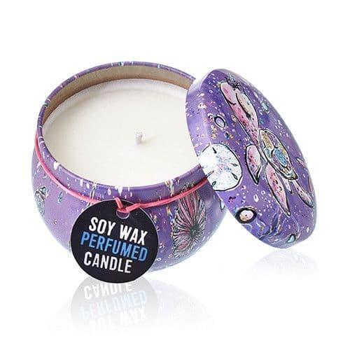 Soy Wax Candles Art Printed Tin Cotton Wick - Sea life - Rasberry